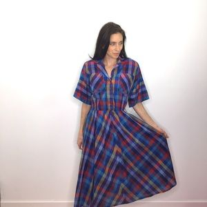 Vintage Blue Plaid Secretary Shirt Dress